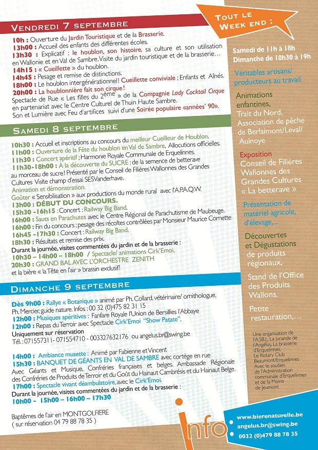 Programme de la fête du houblon d'Erquelinnes