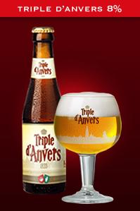 Bouteille et verre à bière de la Triple d'Anvers