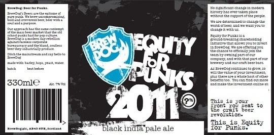 Etiquette de la bière Equity Foàr Punk